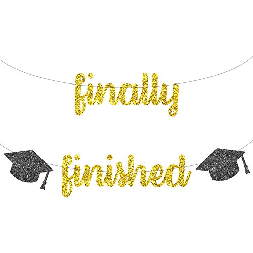 Finally Finished Banner with Cap - Real Gold Glitter   2019 Graduation Party Decorations   Graduation Party Supplies 2019   Graduation Decorations for College Grad, Senior Decorations   DIY -