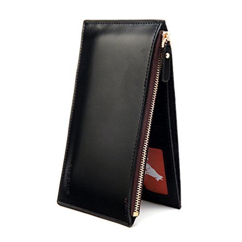 Male Purse Long Men Wallet Patent Leather Male Card Wallet Coin Holder Slim Clutch Zipper Designer Phone Pocket Male Purse