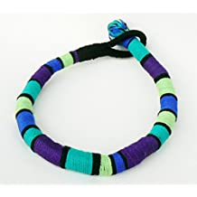 Bold tribal short necklace Cord African necklace Statement striped choker