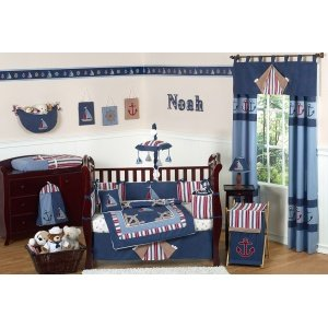 Sailboat Toddler Bedding (Sweet Jojo Designs 5-Piece Nautical Nights Boys Sailboat Toddler Bedding set)