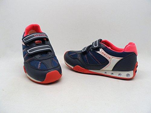 Geox Jocker Girl Sneaker Shoe - Blue/Coral - Girls - 29