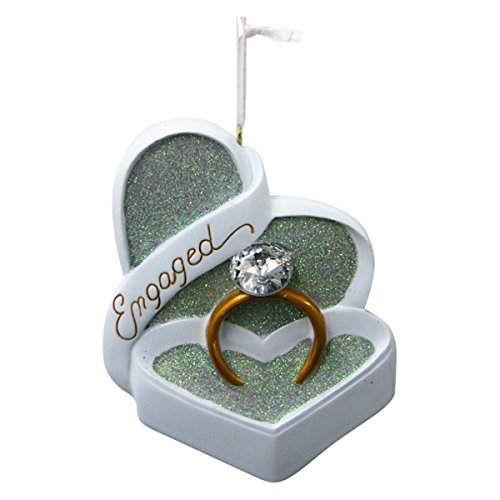Engaged Heart Shaped Box and Ring with Gem Ornament (Christmas Ornaments Couples Engaged For)