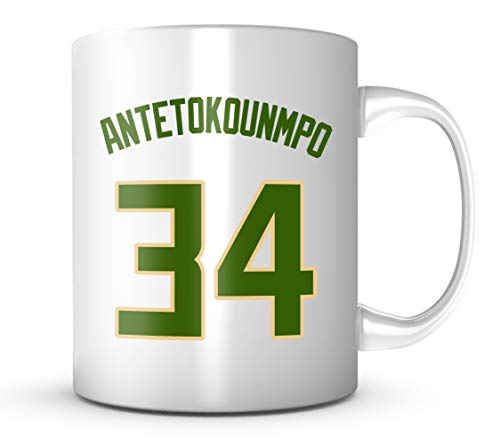 Giannis Antetokounmpo #34 Mug Basketball 11 oz Coffee Cup - Makes A Great Fan Gift