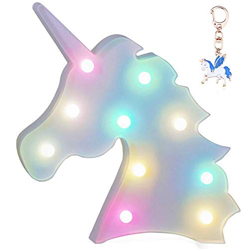 Fengyao Unicorn Night Light, Colorful Marquee Sign Light with Hanging Hole, Decorative LED Switch Light for Christmas Birthday Wedding Party, Battery Powered, 9.64 x 9.45 in (White)