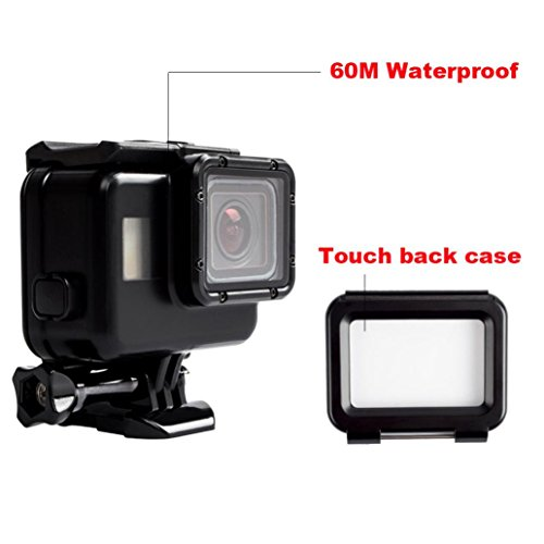 Coohole 60M Waterproof Housing Case Cover + Touch Screen Backdoor Cover For Gopro Hero 5, Black