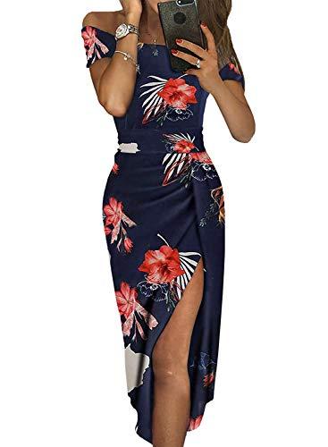 Floral Dresses for Women Summer Formal Party Evening Dressy Sheath Midi Dress Dark Blue XL
