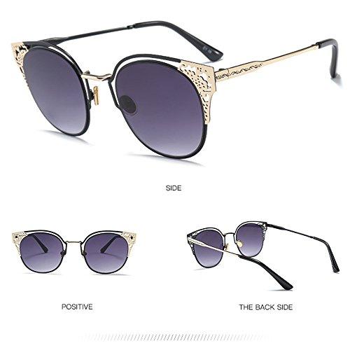 Gray Gafas del Gafas Sol De Pintadas Salvajes Patrón Metal Moda La Sol De De Brass xYBqIY6