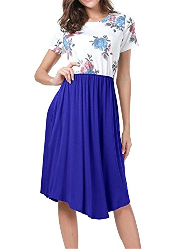 Midi Womens Patchwork Casual Dress Short Dark Sleeve ALAPUSA Blue Swing Floral ZapqAAw
