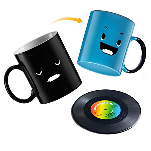 Color Coaster (Magic Heat Sensitive Coffee Mug, Color Changing Funny Smiley Faces Design,BPA Free Ceramic 12 OZ Cup Set,With Gift of Retro Vinyl Record Disc Drink Coasters By ADAINA(Blue))