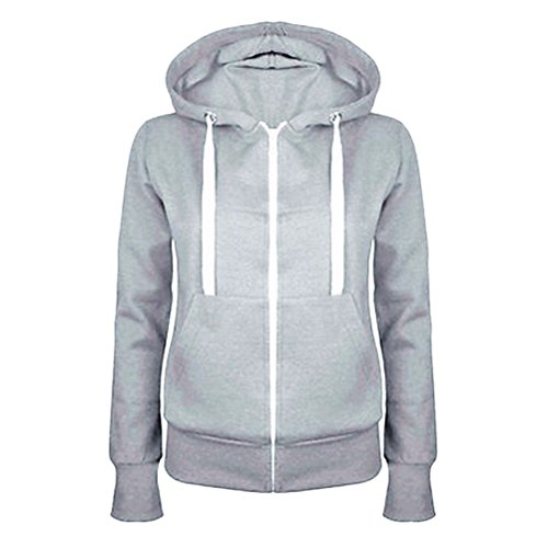 Zhhlinyuan Ropa populares Womens Simple Style Cotton Hooded Drawstring Sweater Female Plus Size Coats Light Gray