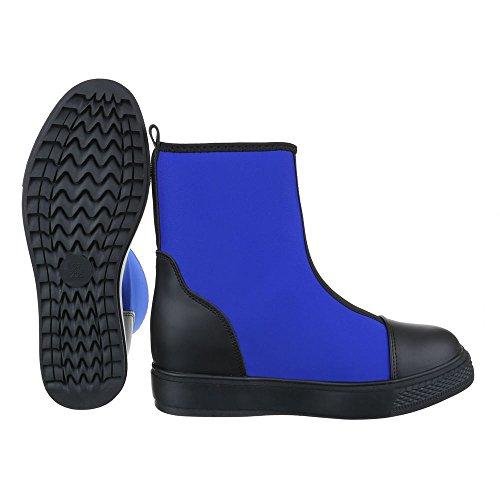 Ital-Design Komfort Stiefeletten Damenschuhe Schlupfstiefel Keilabsatz/Wedge Keilabsatz Stiefeletten Blau