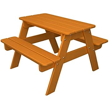 POLYWOOD Outdoor Furniture Kid Picnic Table, Tangerine Recycled Plastic  Materials Part 95