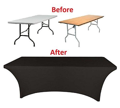 Banquet Tables Pro Black 6 ft. Rectangular Stretch Spandex Tablecloth by Banquet Tables Pro (Image #1)