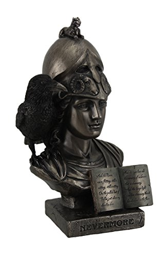 Resin Statues Nevermore The Raven On Pallas Athena Bust Bronze Finish Statue 4.5 X 8.5 X 5 Inches (Athena Finish)
