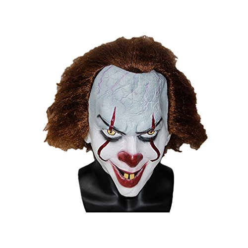 PONGONE Pennywise Scary Clown Mask Cosplay Latex Mask Creepy Halloween Face Mask for Adults -