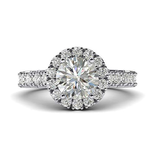 Women's Solid Sterling Silver Large Halo 1.5ctw Simulated Brilliant Round Diamond Engagement Ring With Side Stones (5)