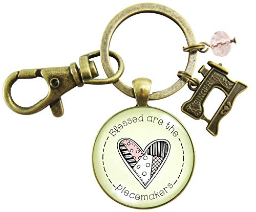 Sewing Machine Keychain Blessed Are The Piecemakers Quilter Beatitudes Faith Quote Jewelry Seamstress Key Ring from Gutsy Goodness