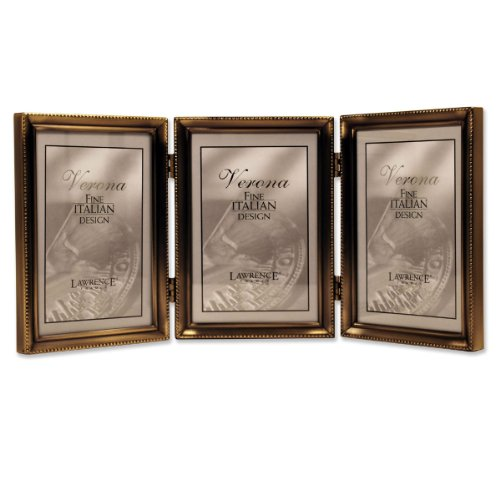 Lawrence Frames 11435T Antique Gold Bead Hinged Triple Picture Frame, 3.5 by 5-Inch - Antique 3 X 5 Picture Frames