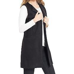 JOKHOO Women's Wool Blend Sleeveless Long Vest Jacket Longline Slim Waistcoat,Black,XX-Large