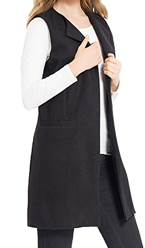 JOKHOO Women's Wool Blend Sleeveless Long Vest Jacket Longline Slim Waistcoat,Black,XX-Large