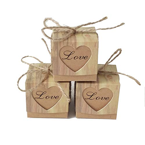 Keweis 100pcs Rustic Candy Boxes Love Heart Kraft Paper Boxes with Burlap Jute Twine for Wedding Favor Valentine Gift Bag