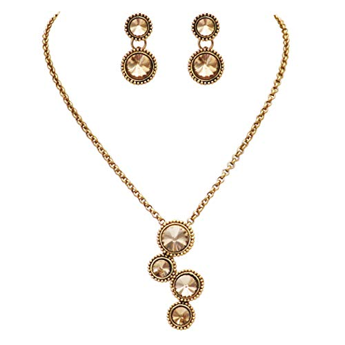Rosemarie Collections Women's Vintage Style Rivoli Cut Crystal Rhinestone Circular Pendant Necklace and Earrings Set (Light Topaz/Gold Tone)