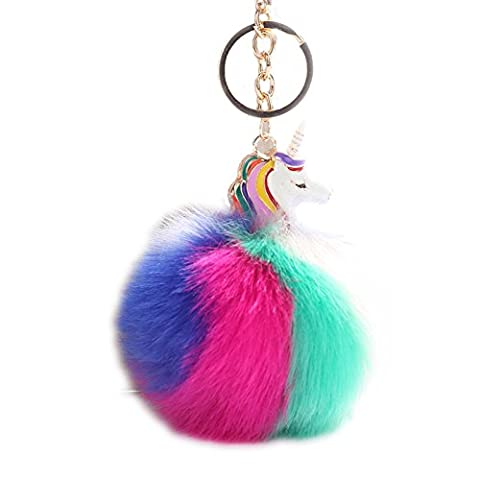 BAOBAO Rainbow Faux Rex Rabbit Fur Unicorn Horn Ball Pompom Pendant Car Keychain Keyring - Crystal Unicorn