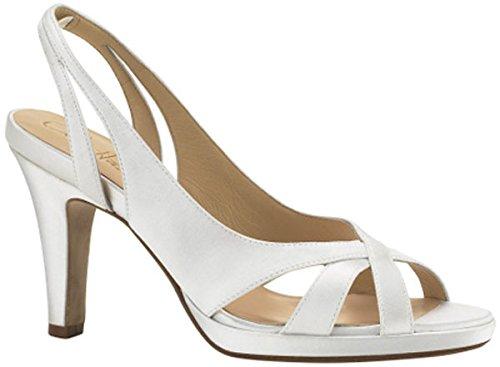 Air Ceci (Cole Haan Women's Ceci Air Mid Sandal,White Satin,7.5 B US)