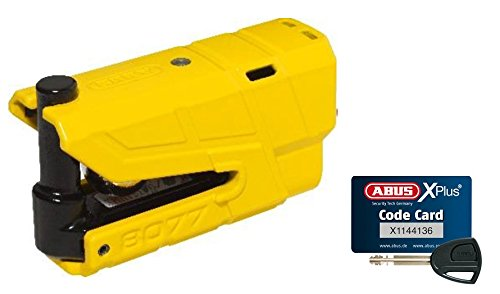 Abus Granit Detecto X-Plus 8077 Alarm Brake Disc Lock with 3D Position Detection, Security Level 18, Colour Yellow, 190025 (Best Disc Lock For Insurance)