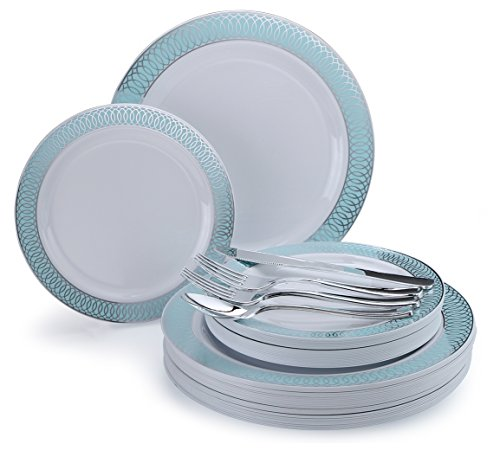 """"""" OCCASIONS"""" 150 piece/25 guest Wedding Party Disposable Dinnerware Set - Plastic Plates and Silverware for 25 guests (25 x 10'' plates + 25 x 7'' plates) in Venice Blue/Silver"""