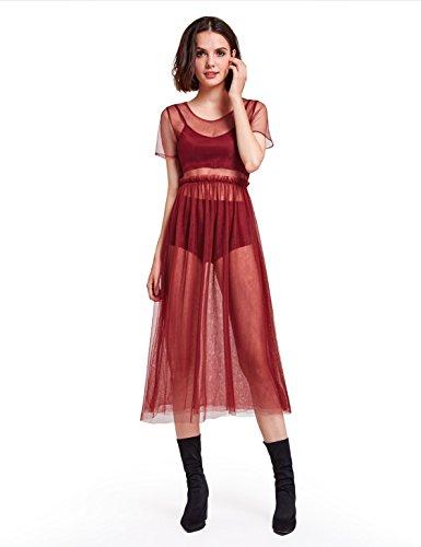Alisa Pan Womens Short Sleeve Sheer Layering Dress 05909