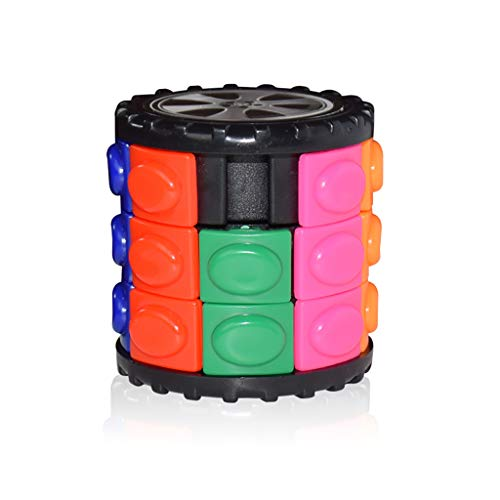 AMOFINY Baby Toys Rotating Puzzle Toy Magic Finger Cube Cylindrical Puzzle Anxiety Stress Focus for Kids ()