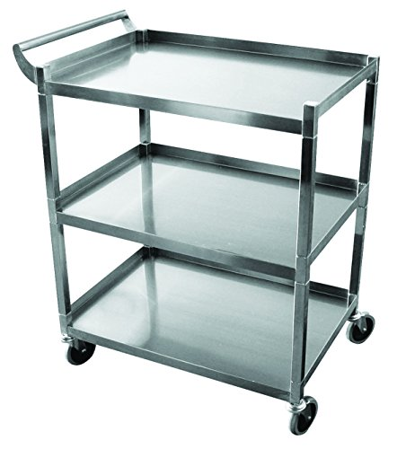 Stainless Steel Solid 3 Shelf 1'' Tubular Utility Cart w/ 5'' Swivel Casters NSF Approved (29 1/2''L x 18''W) by EquipmentBlvd