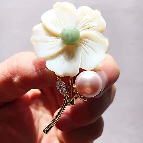 YYOGG Brooch Chinese Style Retro Brooch Emerald Shell Pearl Handmade Brooch Temperament Female Fashion Jewelry