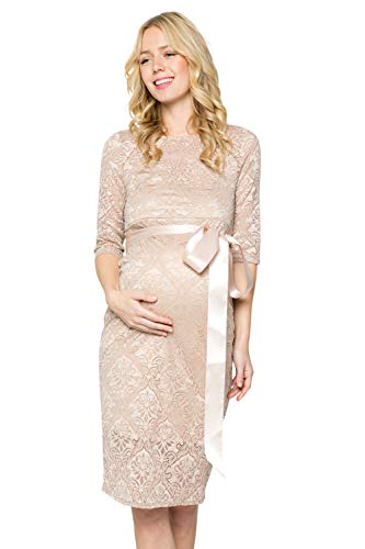 - My Bump Women's Premium Lace Baby Shower Party Knee Length Maternity Dress(Taupe SKAU, Large)