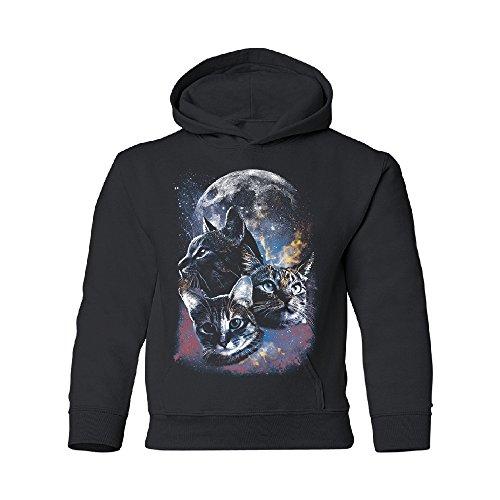 Zexpa Apparel Space Cute Cats Moon Youth Hoodie Nebula Cats Full Moon Sweatshirt Black Youth Medium by Zexpa Apparel