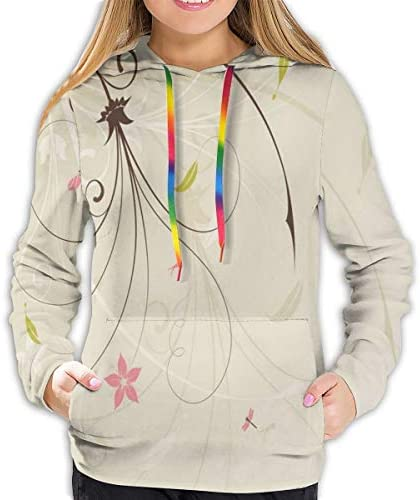 Women's Hoodies Tops,Spring Field Bouquet Shabby Chic Abstract Blossom Greenland Graphic Art,Lady Fashion Casual Sweatshirt