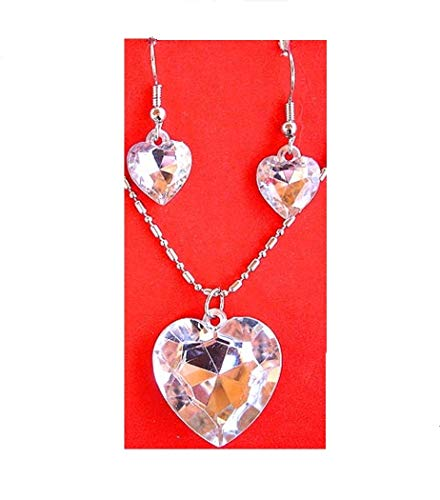 Multi Faceted Shiny Heart Shape Clear Stone Necklace and Earrings Set