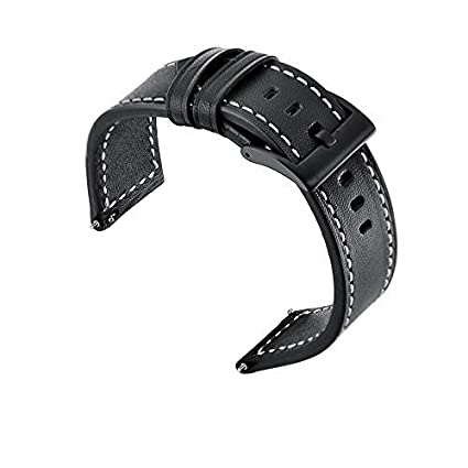 CIRCLE for Amazfit Stratos Smartwatch 2/2S, Harmin Amazfit Stratos Bands Genuine Leather Replacement With Black Buckle Strap for Huami Amazfit Stratos ...