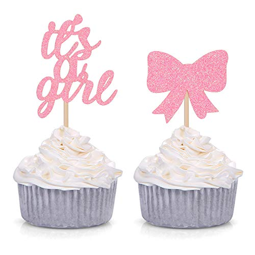 24 Counts It's A Girl Cupcake Toppers Baby Girl Shower Party Decorations