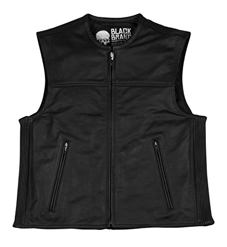 Black Brand Men's Leather Dagger Motorcycle Vest (Black, XXX-Large) by BLACK BRAND