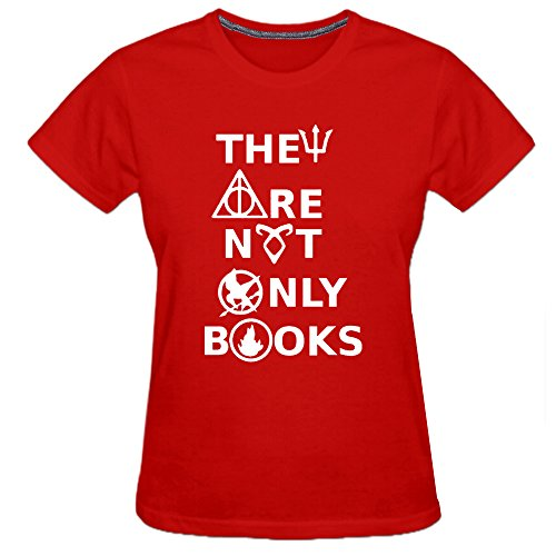 Conquershop Women's They Are Not Only Books T-shirt (Red Medium) -