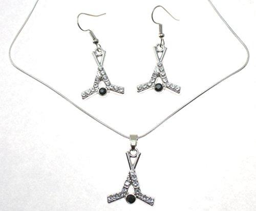 HOCKEY CROSSED STICKS & Puck Earrings & Necklace Set are Embellished with (Hockey Crossed Sticks)
