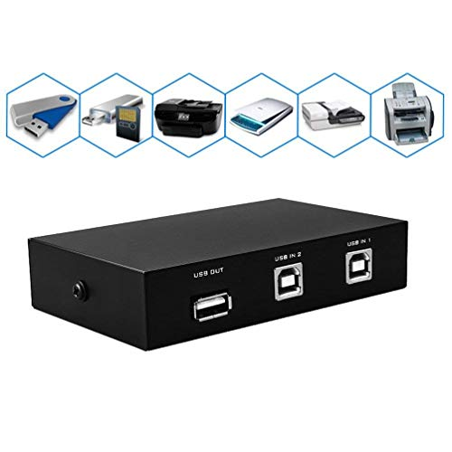 Printer Sharing USB Switch 2 Ports USB 2.0 Selector Switch for PC Sharing Switch Box with (2pcs 5 feet / 1.5 Meter) Print Scanner Cables for PC Computer Scanner Printers Projector Camera and Keyboard