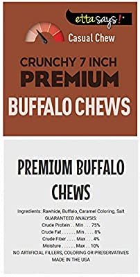 ETTA SAYS! Crunchy Chews for Dogs - Pack of 10 - Made from USA Sourced Rawhide, Grain-Free, Easy to Digest, Low Odor, Won't Stain Carpet (Buffalo)