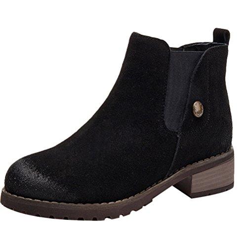 MatchLife Stiefelette Boots Chelsea Klassische Schwarz Leder Damen r8wqxrSZP