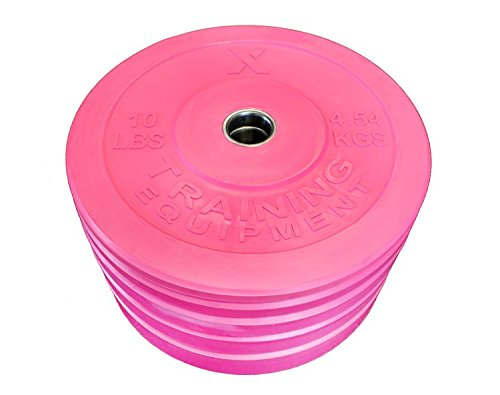 Premium Pink Bumper Plate Solid Rubber with Steel Insert Great for Crossfit Workouts