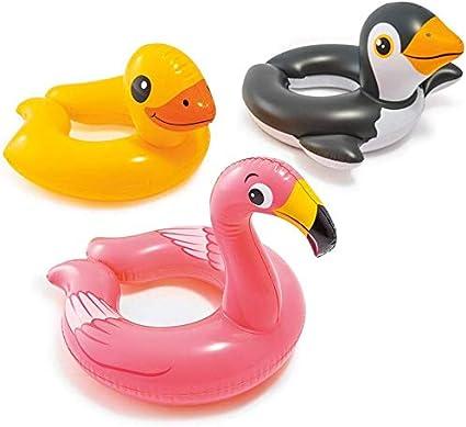 Intex Paquete de 3 - 59220ep - flotadores de la Piscina del Anillo Dividido de Cabeza de Animal Paquete Incluye Jirafa, Rana, Pingüino: Amazon.es: Juguetes y juegos