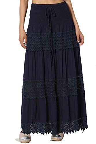 TheMogan Junior's Crochet Eyelet Elastic Waist A-Line Full Maxi Skirt Navy ONE Size