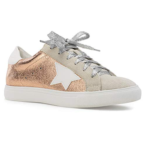- Women's Casual Low Top Trendy Fashion Sneakers Flats Rose Gold Size.8.5